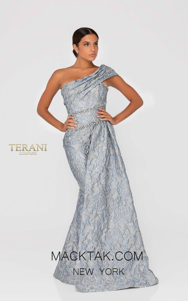 Terani 1911E9139  Pewter Gray Front Evening Dress
