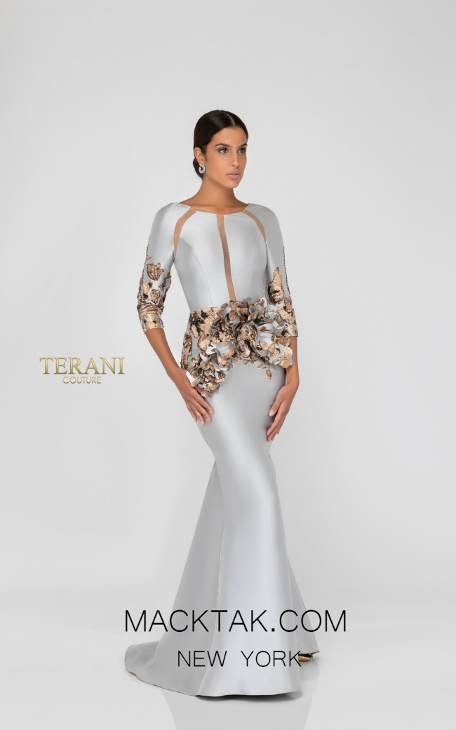 Terani 1911E9142 Bronze Silver Front Evening Dress