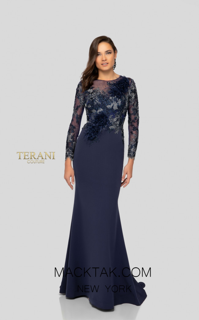 Terani 1911E9602 Navy Front Evening Dress