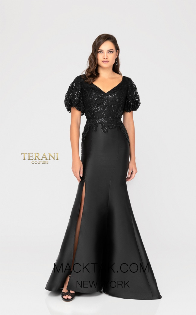 Terani 1911E9618 Black Front Evening Dress