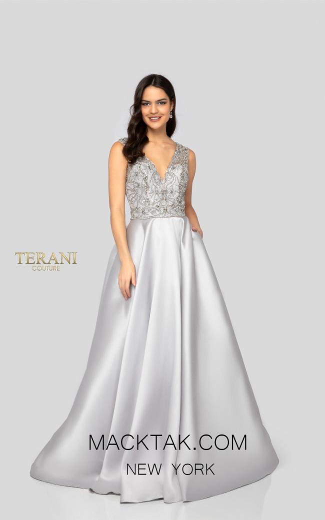 Terani 1911E9620 Silver Front Evening Dress
