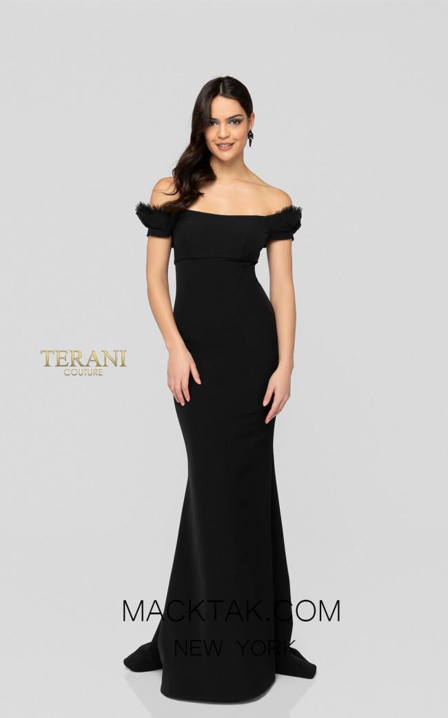 Terani 1911E9621 Black Front Evening Dress