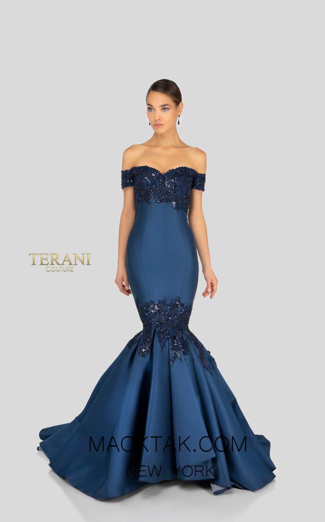 Terani 1911E9622 Navy Front Evening Dress