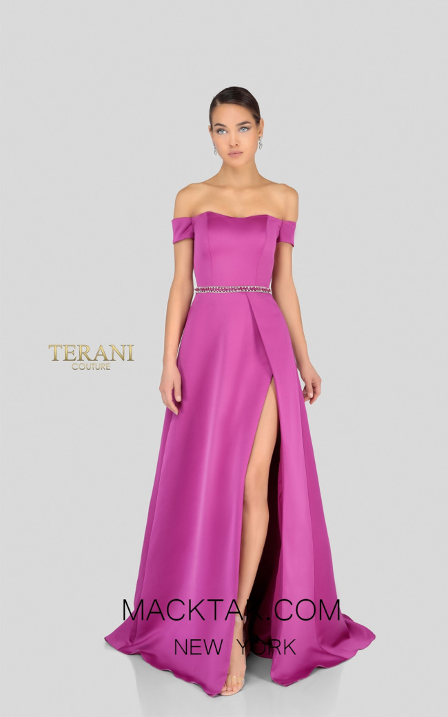 Terani 1911E9623 Fuchsia Front Evening Dress