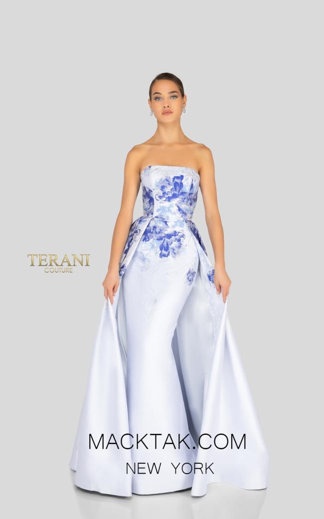 Terani 1911E9624 White Denim Silver Front Evening Dress