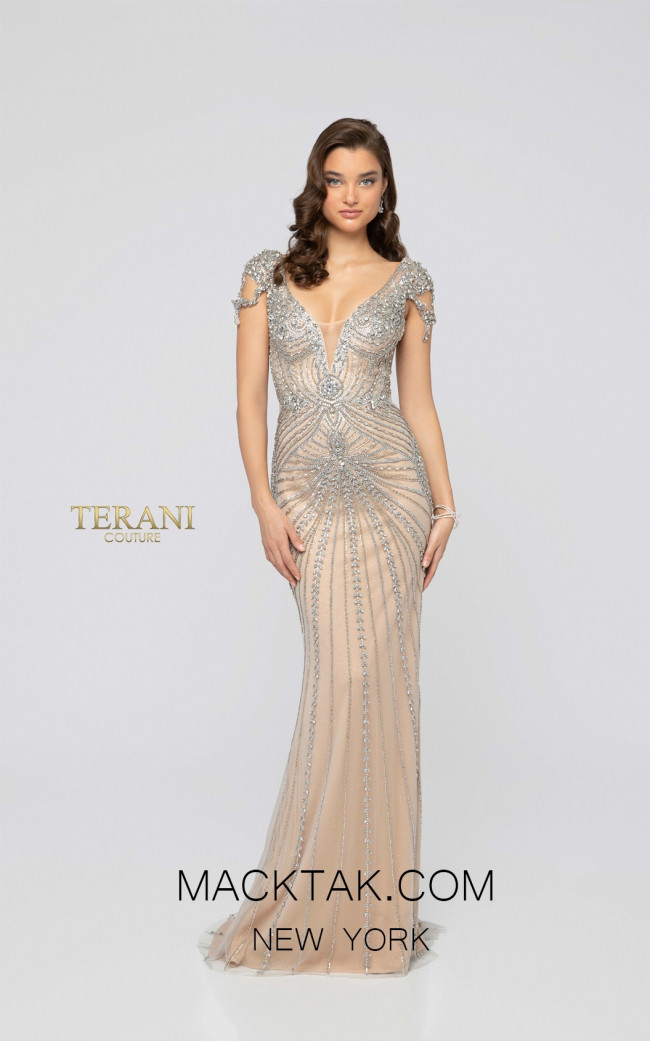 Terani 1911GL9498 Crystal Nude Front Pageant Dress
