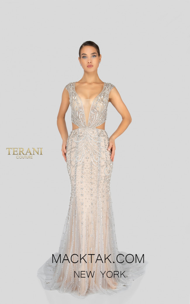 Terani 1911GL9500 Crystal Silver Front Pageant Dress