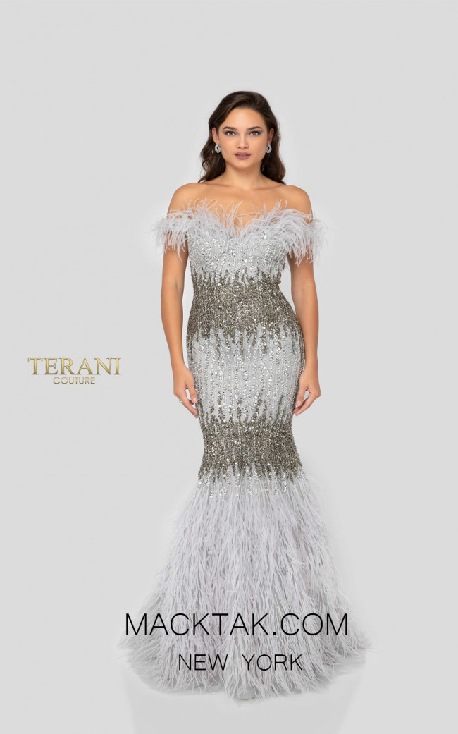 Terani 1911GL9512 Gunmetal Silver Front Pageant Dress