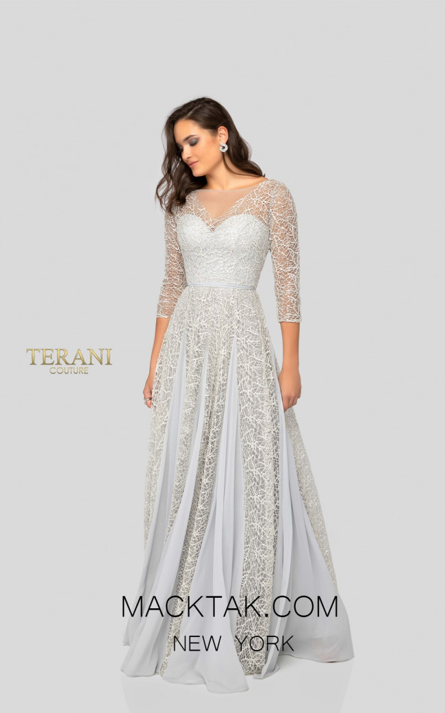 Terani 1911M9297 Mother of Bride Ivory Silver Front Dress