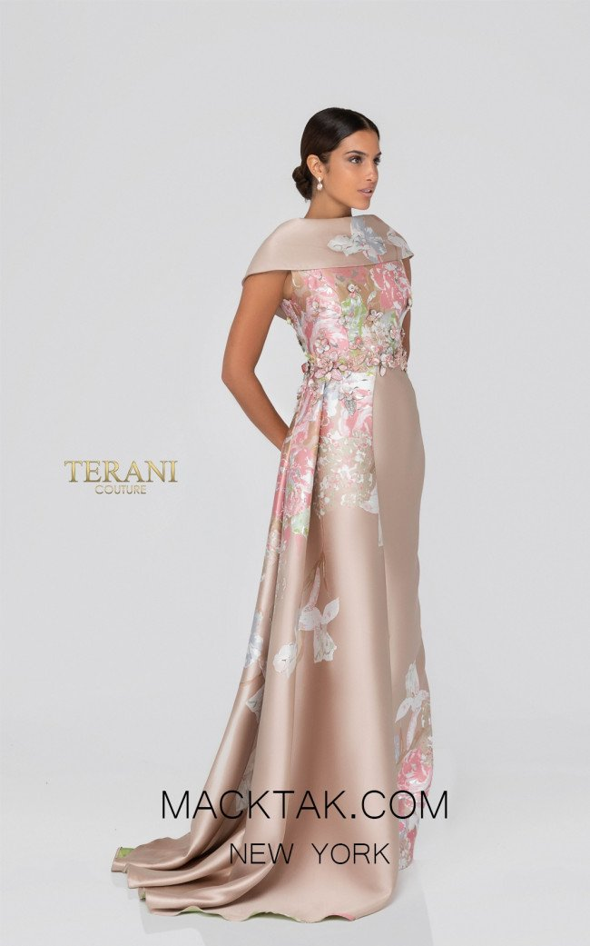 Terani 1911M9315 Champagne Silver Front Mother of Bride Dress