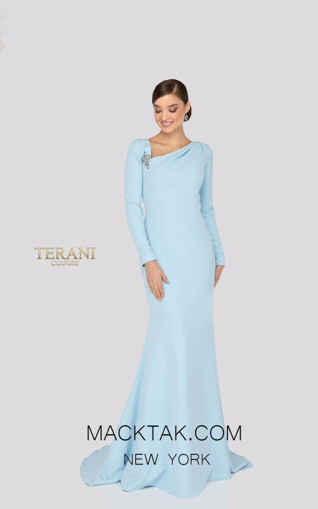 Terani 1911M9320 Mother of Bride Powder Blue Front Dress