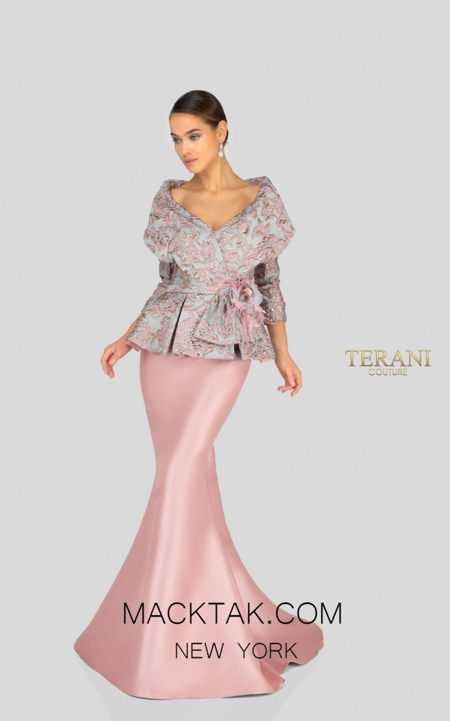 Terani 1911M9322 Rose Gray Front Mother of Bride Dress