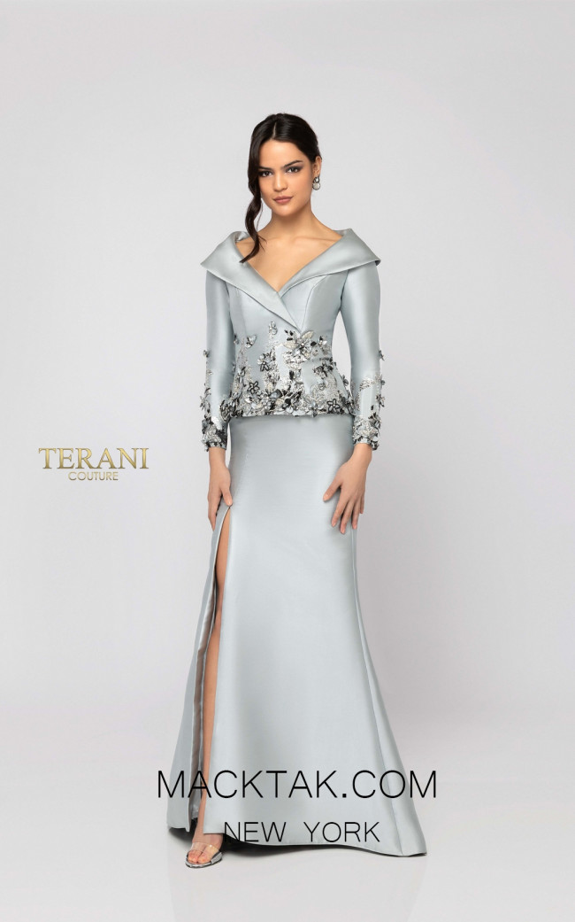 Terani 1911M9323 Silver Gunmetal Front Mother of Bride Dress