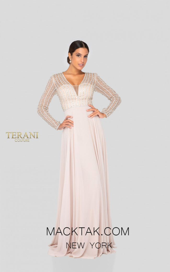 Terani 1911M9326 Champagne Front Mother of Bride Dress
