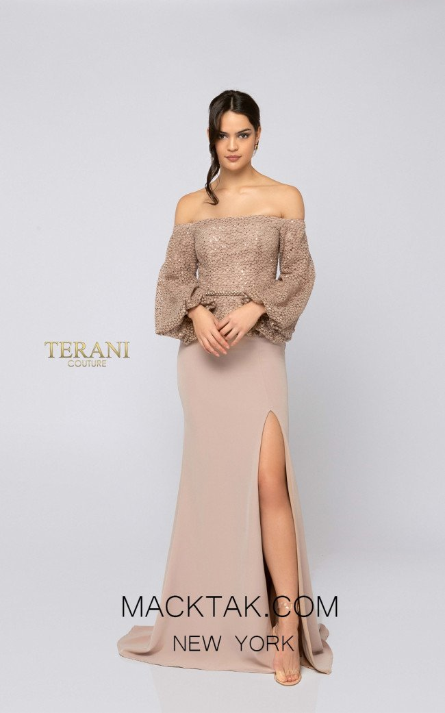 Terani 1911M9328 Mother of Bride Sand Front Dress