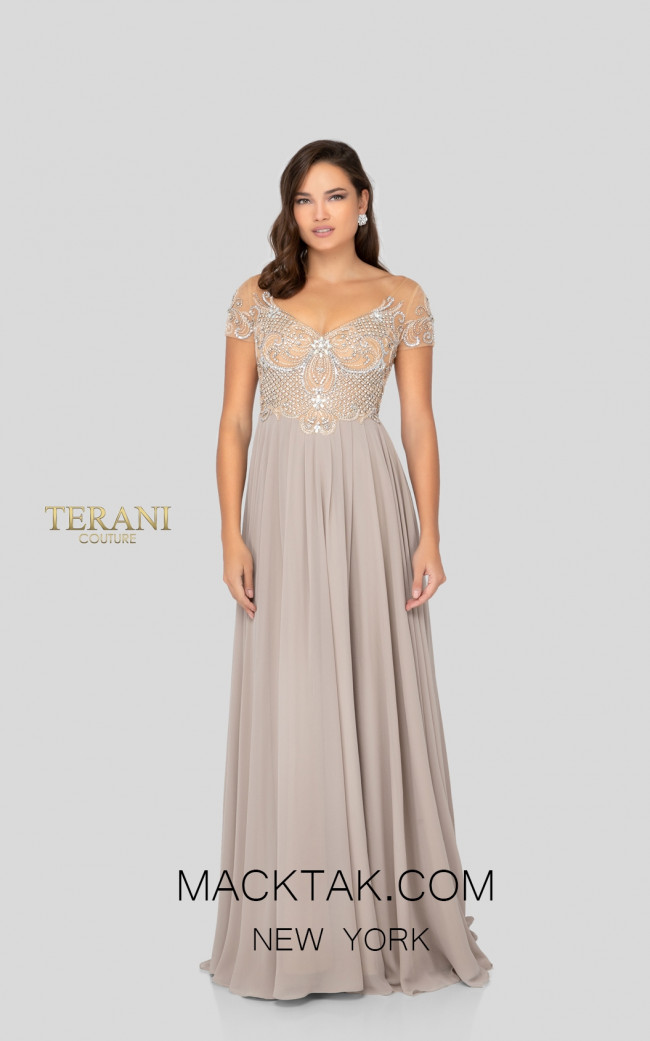 Terani 1911M9333 Mother of Bride Taupe Front Dress