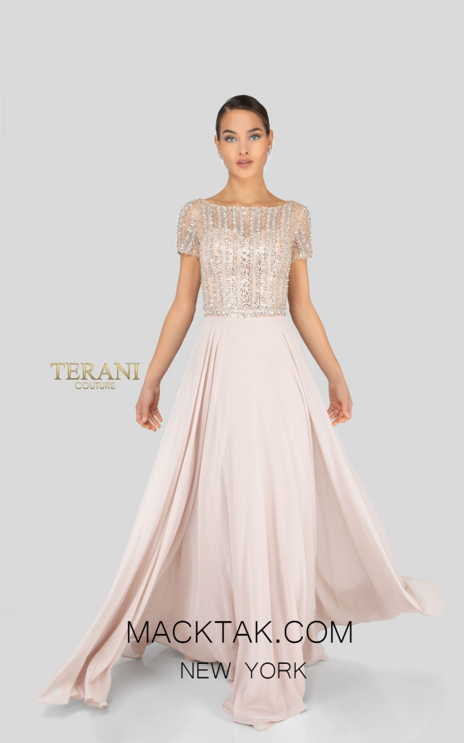 Terani 1911M9664 Champagne Front Mother of Bride Dress