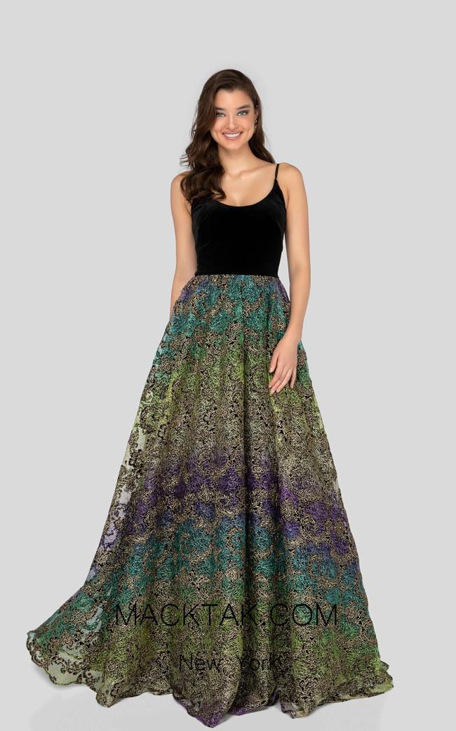 Terani 1911P8483 Black Multi Front Prom Dress
