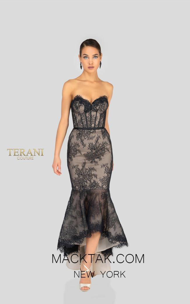 Terani 1912C9036 Black Nude Front Cocktail Dress