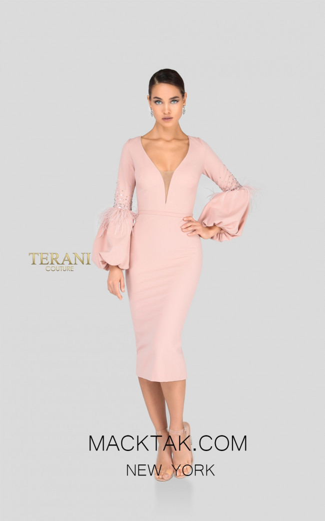Terani 1912C9643 Blush Front Cocktail Dress
