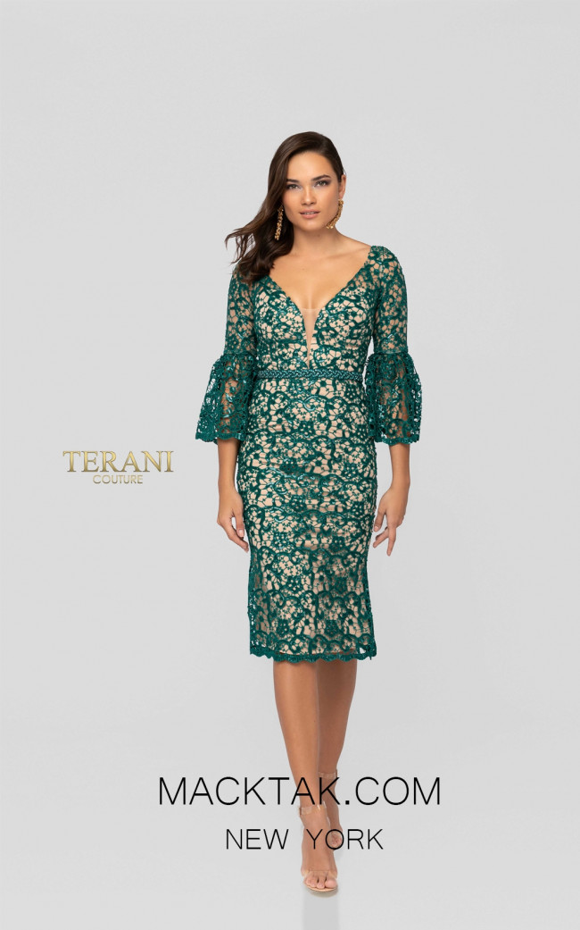 Terani 1912C9644 Emerald Front Cocktail Dress