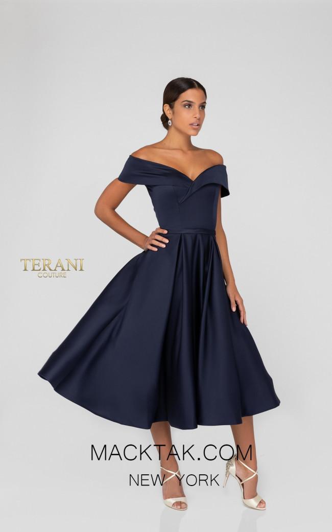 Terani 1912C9656 Navy Front Cocktail Dress
