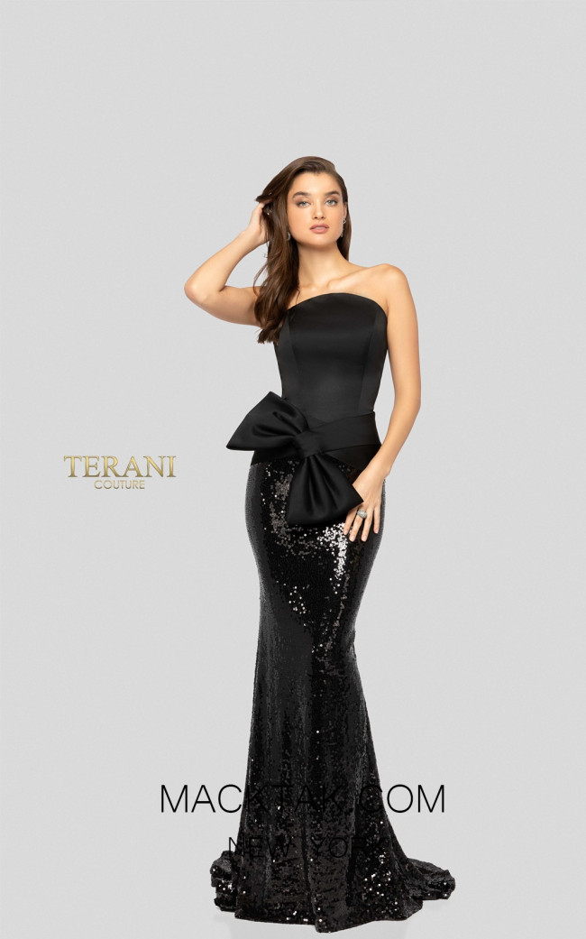 Terani 1912E9146 Black Front Evening Dress