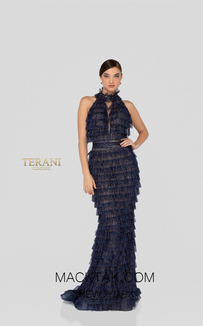 Terani 1912E9149 Navy Silver Front Evening Dress