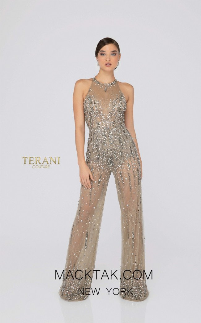 Terani 1912E9156 Taupe Front Evening Dress
