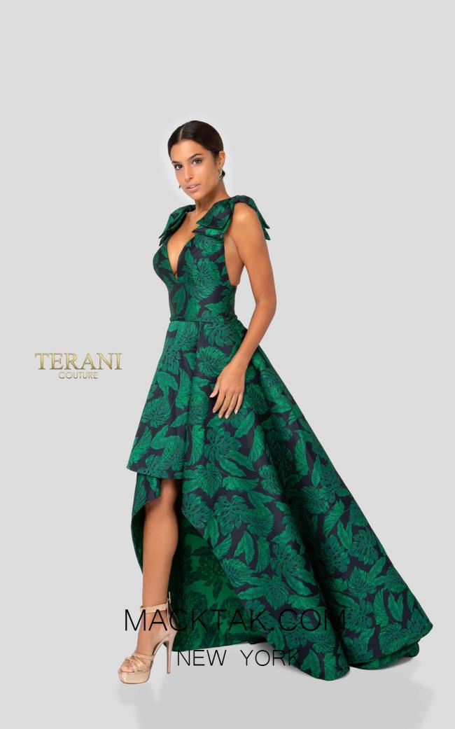 Terani 1912E9169 Forest Green Front Evening Dress