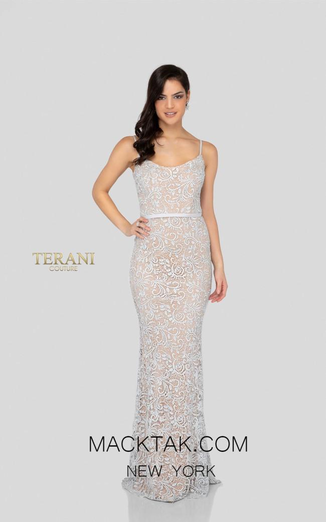 Terani 1912E9176 Dark Silver Front Evening Dress