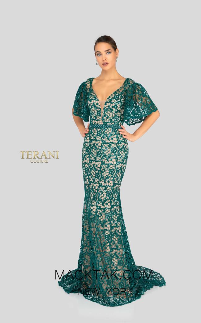 Terani 1912E9177 Emerald Front Evening Dress