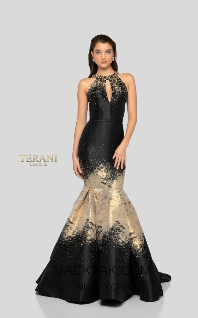Terani 1912E9181 Black Gold Front Evening Dress