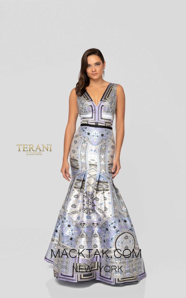 Terani 1912E9182 Lavender Multi Front Evening Dress