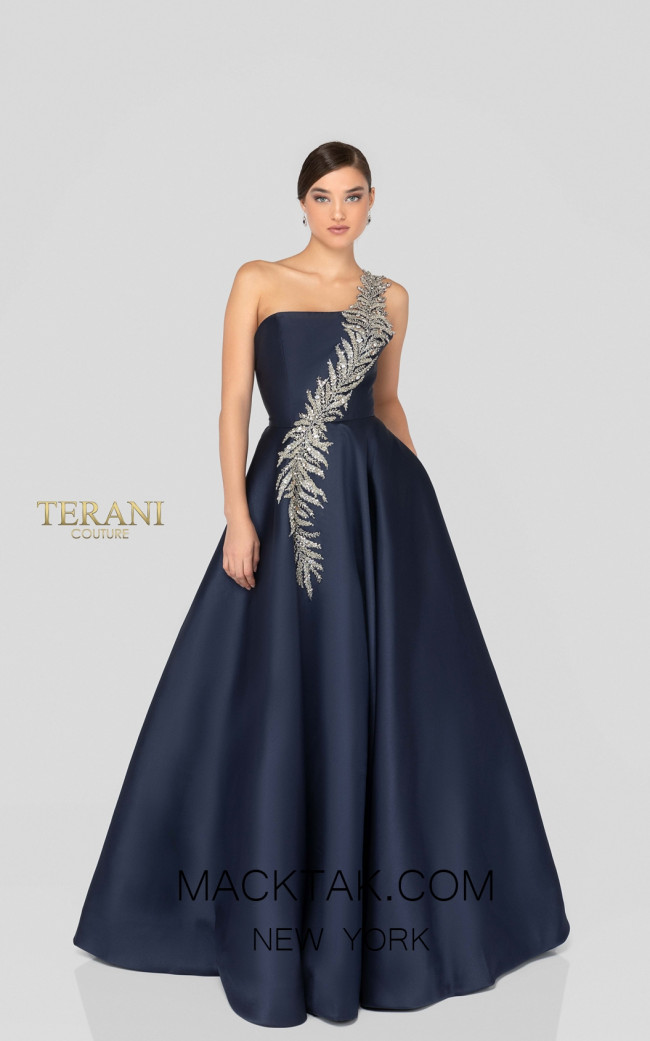 Terani 1912E9202 Navy Front Evening Dress