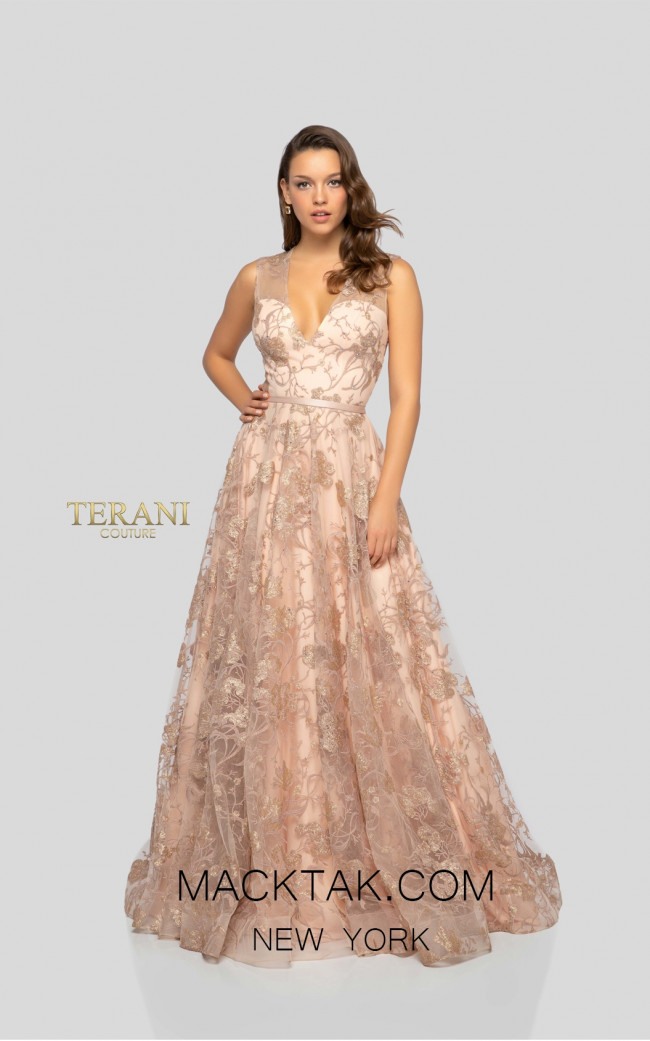 Terani 1912E9206 Nude Gold Front Evening Dress