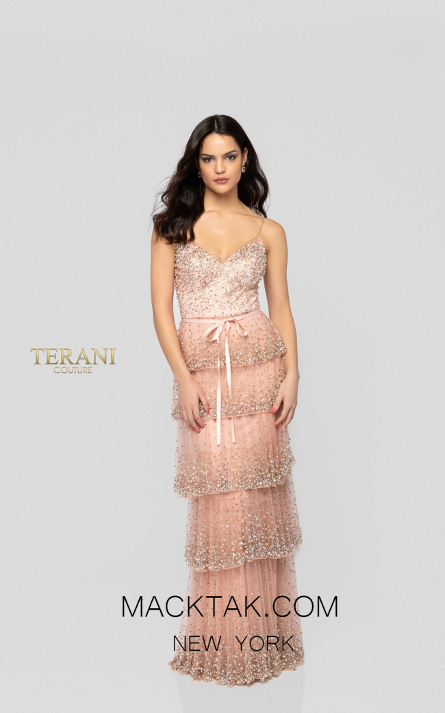 Terani 1912GL9560 Dusty Rose Front Pageant Dress