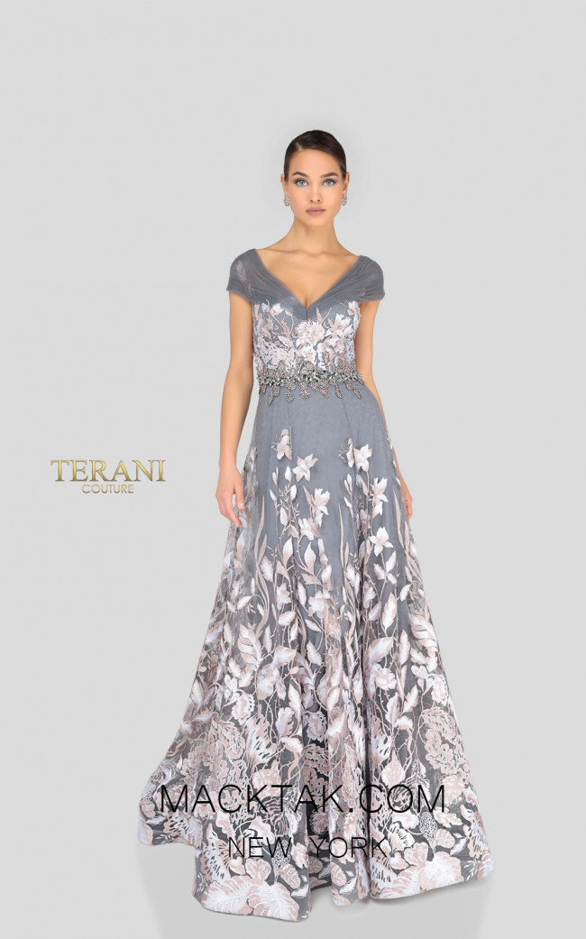Terani 1912M9347 Blush Silver Front Mother of Bride Dress