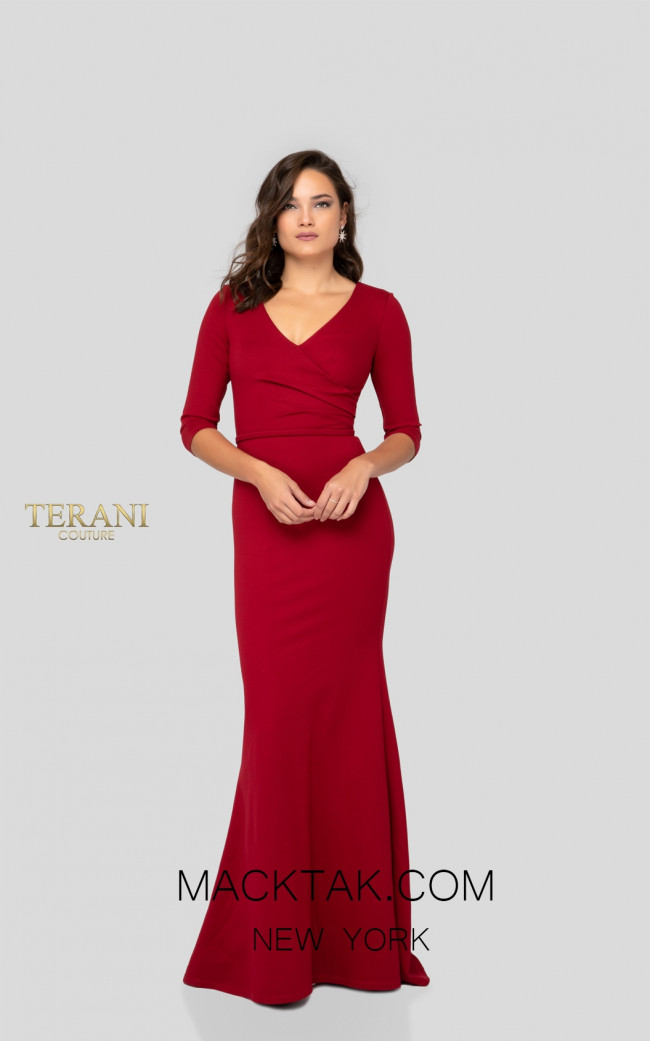 Terani 1912M9354 Mother of Bride Dark Red Front Dress
