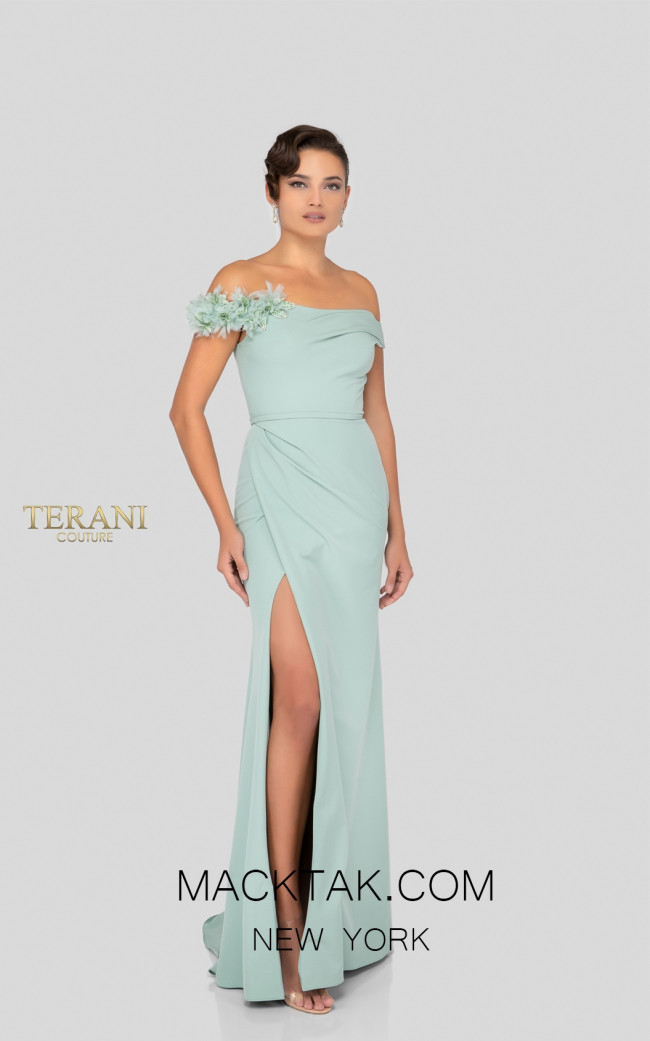 Terani 1912M9358 Sage Front Mother of Bride Dress
