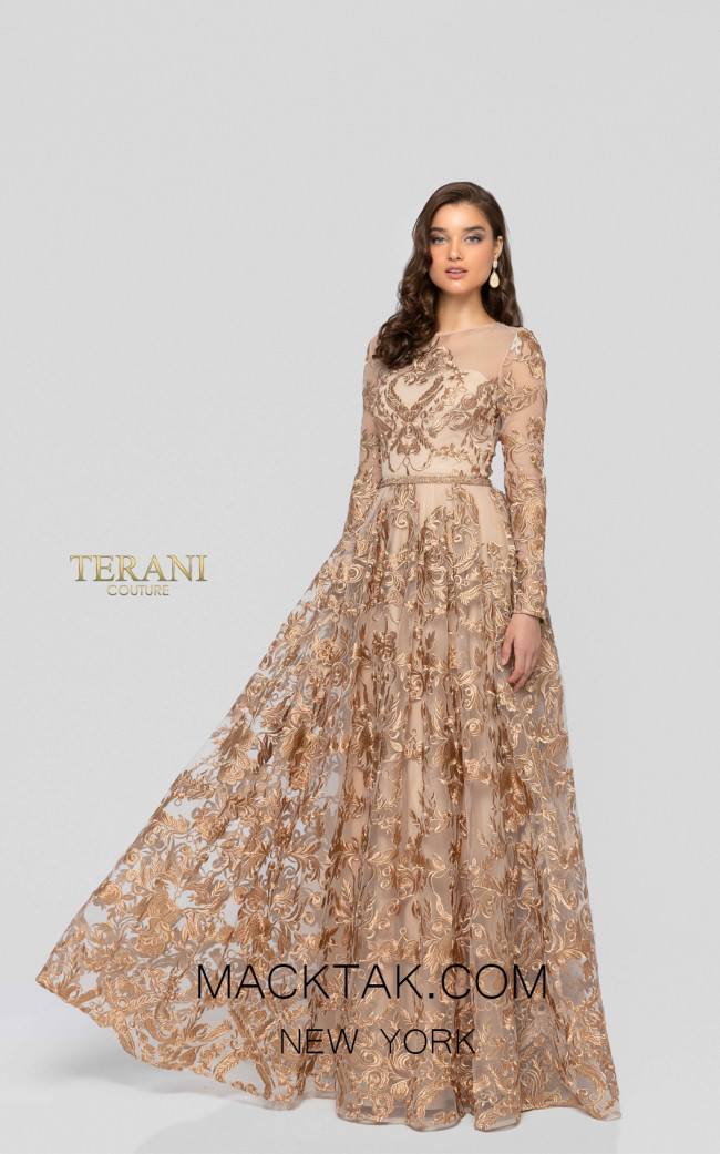 Terani 1912M9366 Bronze Front Mother of Bride Dress
