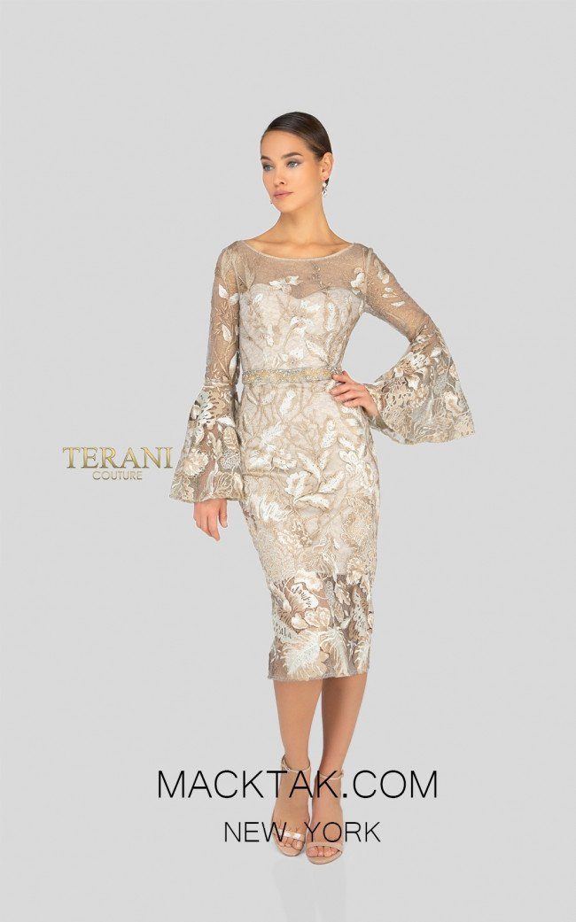 Terani 1913C9065 Champagne Front Cocktail Dress