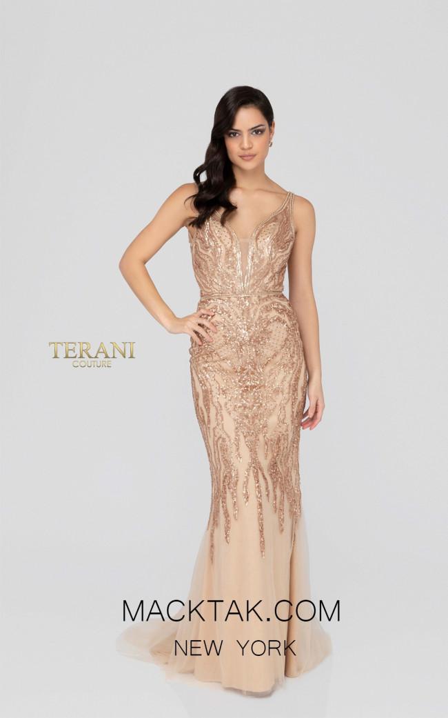 Terani 1913E9227 Rose Gold Nude Front Evening Dress