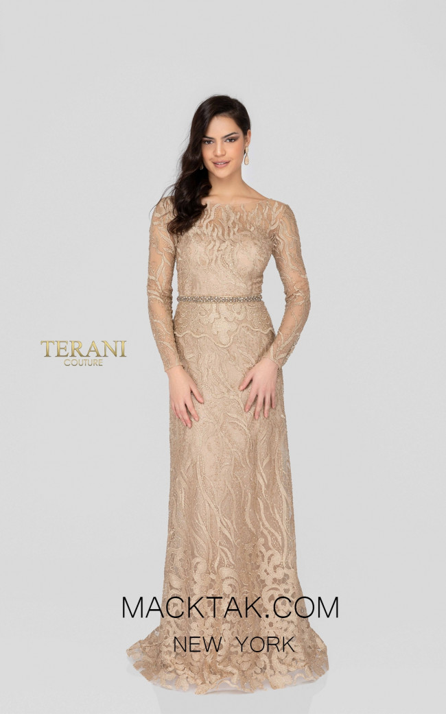 Terani 1913E9229 Gold Nude Front Evening Dress