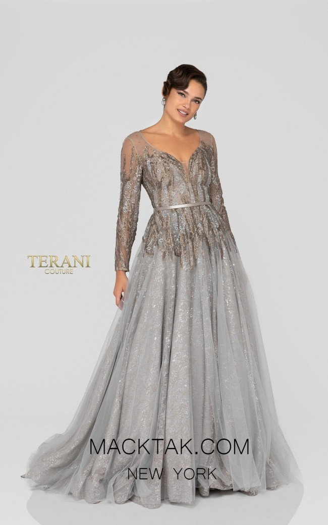 Terani 1913E9234 Taupe Silver Bronze Front Evening Dress