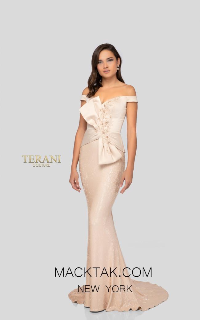 Terani 1913E9247 Champagne Front Evening Dress
