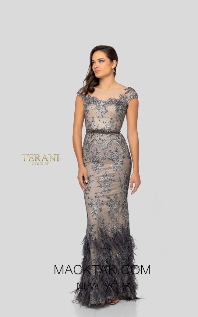 Terani 1913E9250 Gunmetal Nude Front Evening Dress