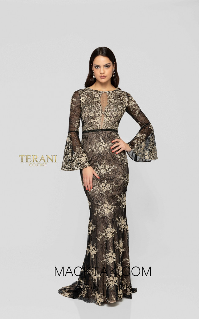 Terani 1913E9257 Black Gold Front Evening Dress