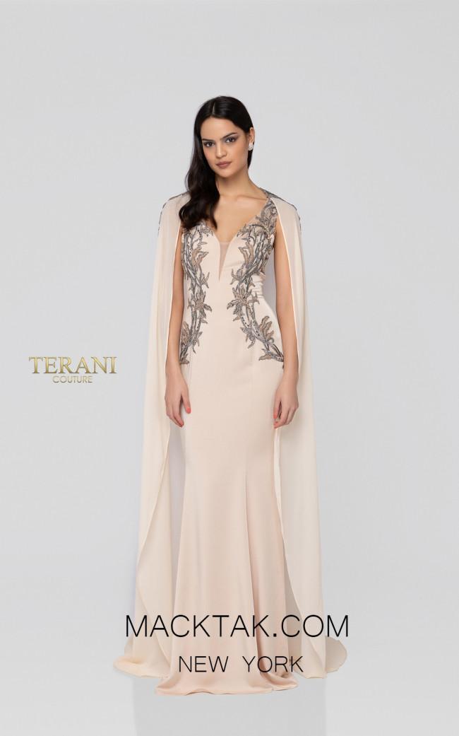 Terani 1913E9283 Blush Gray Front Evening Dress