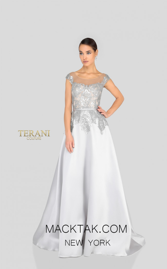 Terani 1913E9285 Silver Nude Front Evening Dress